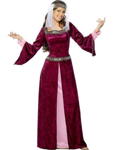 Maid Marion Fancy Dress Costume Purple Thumbnail 1