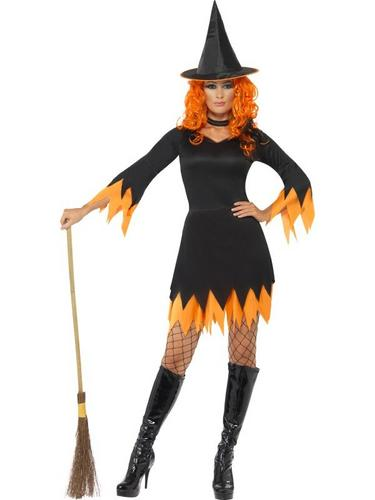 Witch Fancy Dress Costume Black and Orange Thumbnail 1