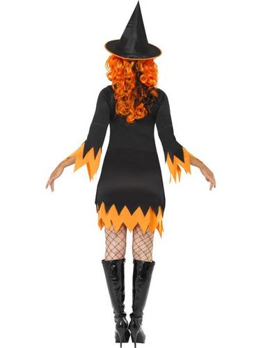Witch Fancy Dress Costume Black and Orange Thumbnail 2