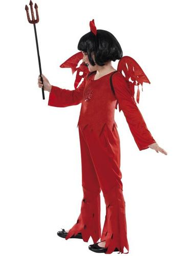 SALE! Kids Red Spooky Devil Girls Halloween Party Fancy Dress Costume Outfit Thumbnail 3