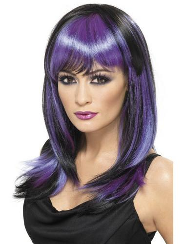 Black and Purple Glamour Witch Fancy Dress Wig Thumbnail 1