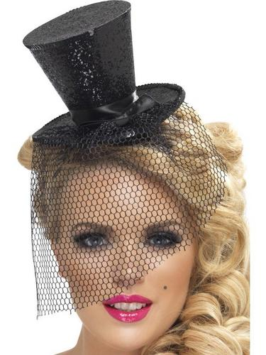 Black Glitter Mini Top Fancy Dress Hat Thumbnail 1