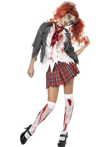 Zombie Schoolgirl Fancy Dress Costume Thumbnail 1