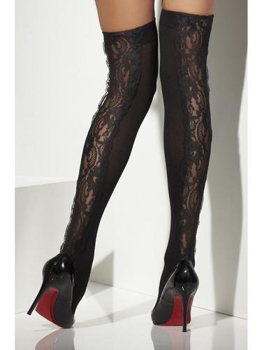 Womens Sheer Black Hold Ups With Lace Detail  Thumbnail 2