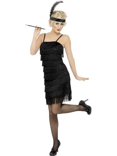Fringe Flapper Fancy Dress Costume Black Thumbnail 1