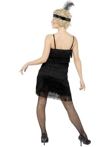 Fringe Flapper Fancy Dress Costume Black Thumbnail 2