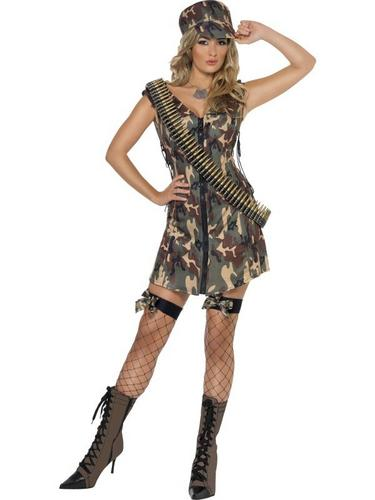 Sexy Army Girl Fancy Dress Costume Thumbnail 2