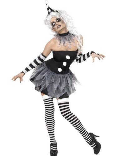 Sinister Pierrot Fancy Dress Costume Thumbnail 1