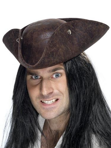 Pirate Tricorn Fancy Dress Hat Brown Suede Thumbnail 1