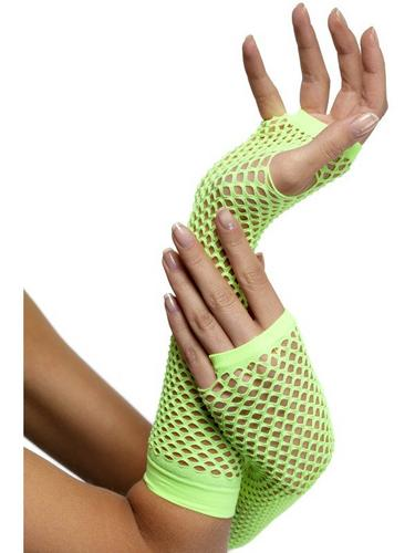 Fishnet Gloves Long Neon Green Thumbnail 1