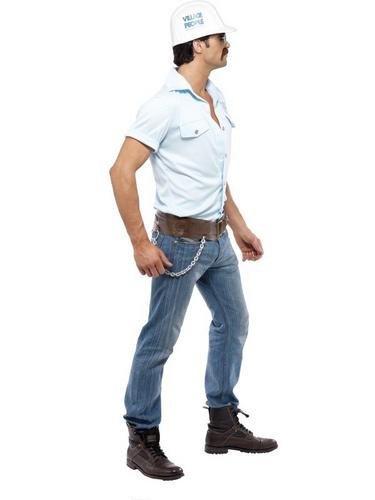 Village People Construction Worker Fancy Dress Costume Thumbnail 2