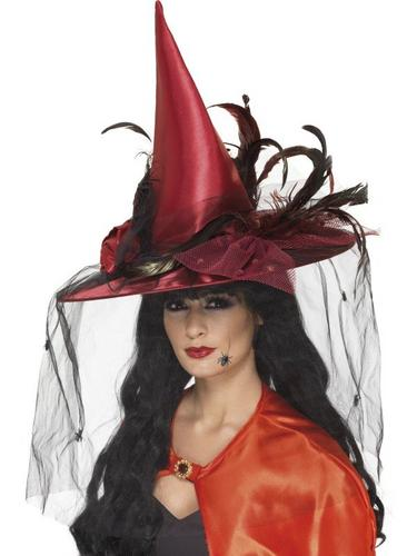 Deep Red Deluxe Witch Hat Fancy Dress Thumbnail 1