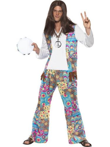 Mens Hippie Fancy Dress Costume Thumbnail 1