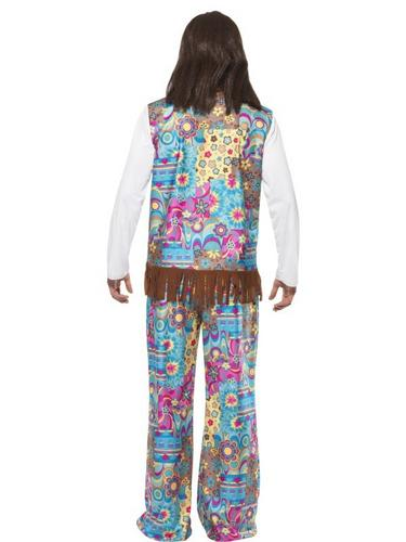 Mens Hippie Fancy Dress Costume Thumbnail 2