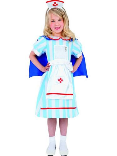 Girls Vintage Nurse Fancy Dress Costume Thumbnail 1