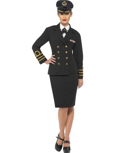 Navy Officer Fancy Dress Costume Female Thumbnail 1