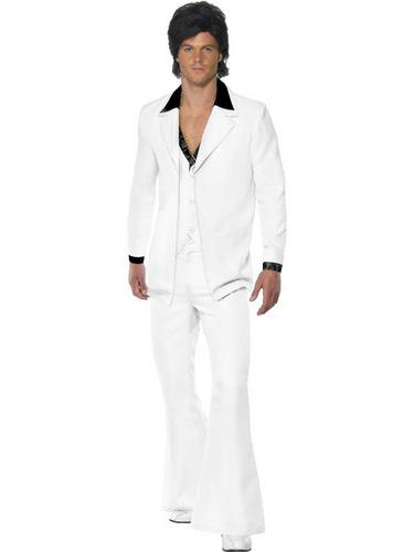 White 1970s Suit Fancy Dress Costume Thumbnail 1