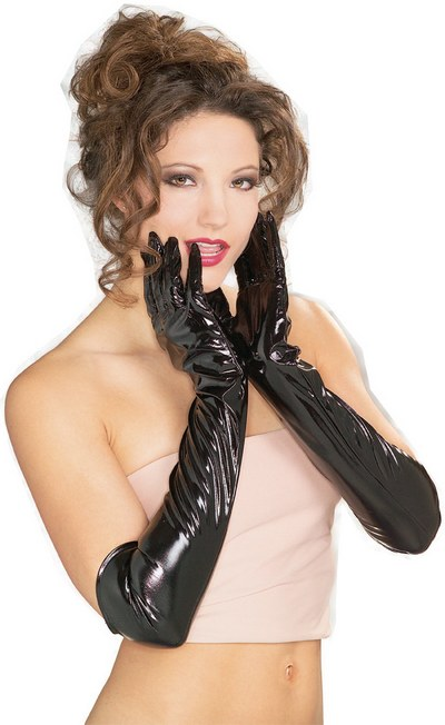 Long Vinyl Black Gloves Thumbnail 1