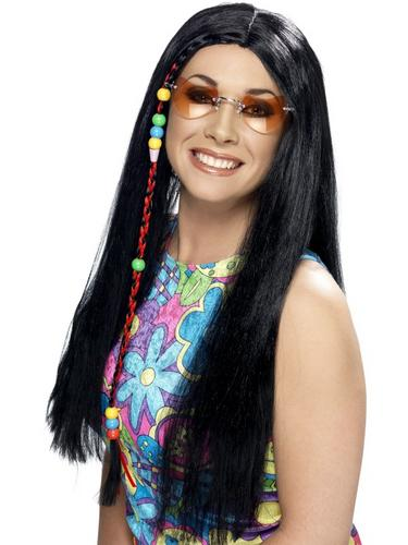 Hippy Party Wig Black Thumbnail 1