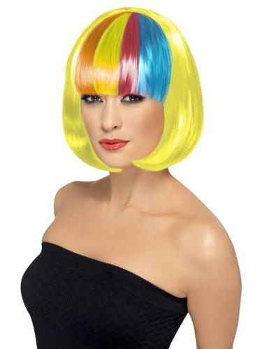 Partyrama Wig, yellow with rainbow fringe Thumbnail 1