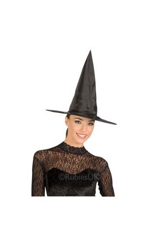 Black Taffetta Witch Fancy Dress Hat Adult Thumbnail 1