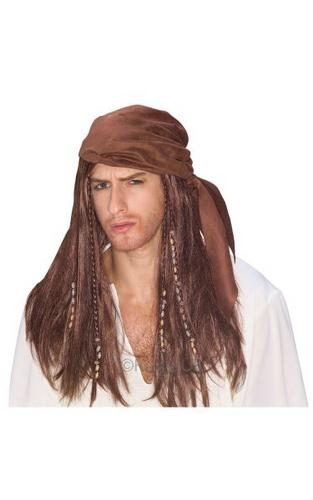 Caribbean Pirate Fancy Dress Wig Thumbnail 1