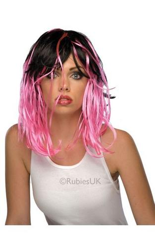 Two Tone Streak Fancy Dress Wig Pink Thumbnail 1