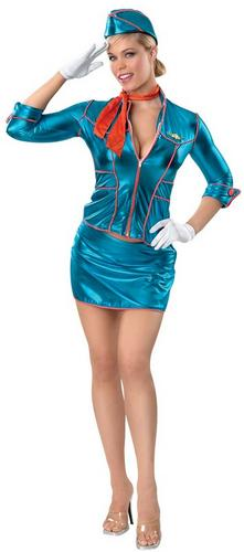 SALE Adult Sexy Air Stewardess Hostess Crew Ladies Fancy Dress Hen Party Costume Thumbnail 1