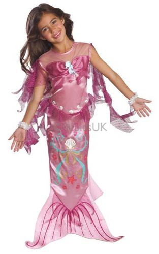 Girls Pink Mermaid Fancy Dress Costume Thumbnail 1