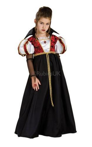 Girls Vampira Fancy Dress Costume Thumbnail 1