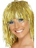 Cyber Tinsel Fancy Dress Wig Gold