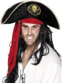 Pirate Fancy Dress Hat with Gold and Red Trim