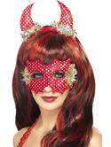 Devildina Mask and Horns Set Red