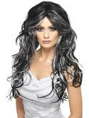 Black and Grey Gothic Bride Fancy Dress Wig