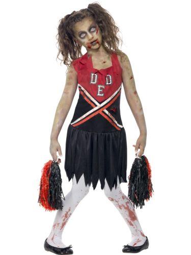 Kids-School-Zombie-Cheerleader-Girls-Halloween-Horror-Fancy-Dress-Costume-Outfit