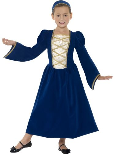 Kids Beautiful Medieval Tudor Princess Girl Book Week Fancy Dress Costume Outfit