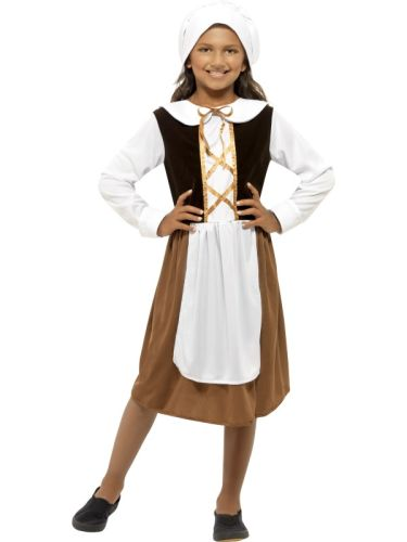 Kids Medieval Tudor Poor Maid Girls School Book Week Fancy Dress Costume Outfit