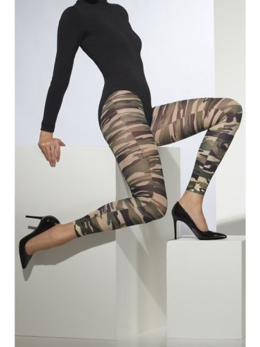 Opaque Footless Tights Camouflage