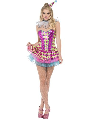 Fever Neon Harlequin Clown Costume Thumbnail 1