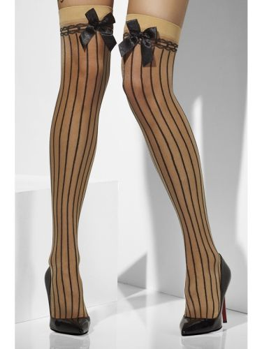 Nude Sheer Hold Ups with Black vertical stripes and bow Thumbnail 1