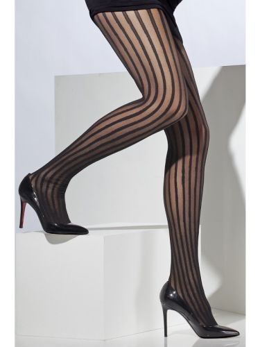Sheer Tights black Vertical stripes Thumbnail 1