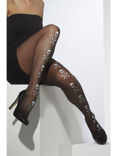 Opaque Tights with Skull and crossbones Thumbnail 1