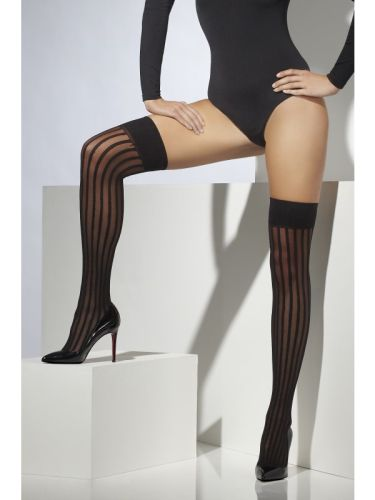 Sheer Hold Ups black with vertical stripes Thumbnail 1