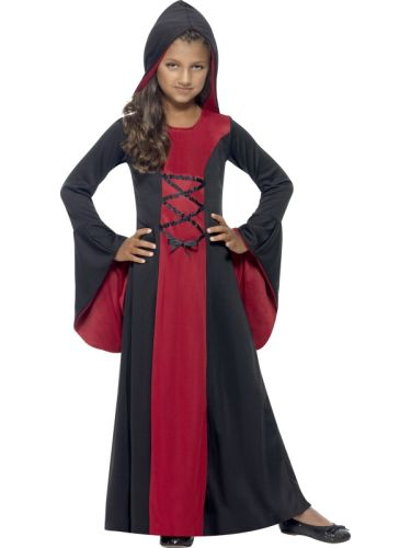 Girls Hooded Vamp Robe Costume Thumbnail 1