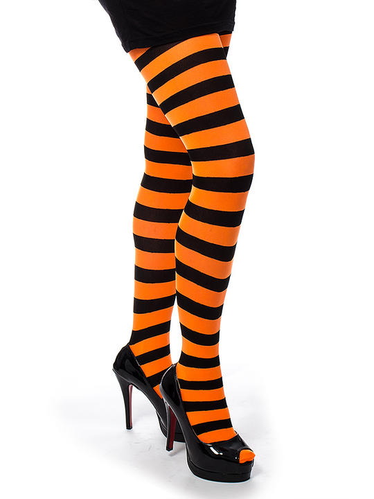 Adult Orange and Black Striped  Opaque Tights Thumbnail 1