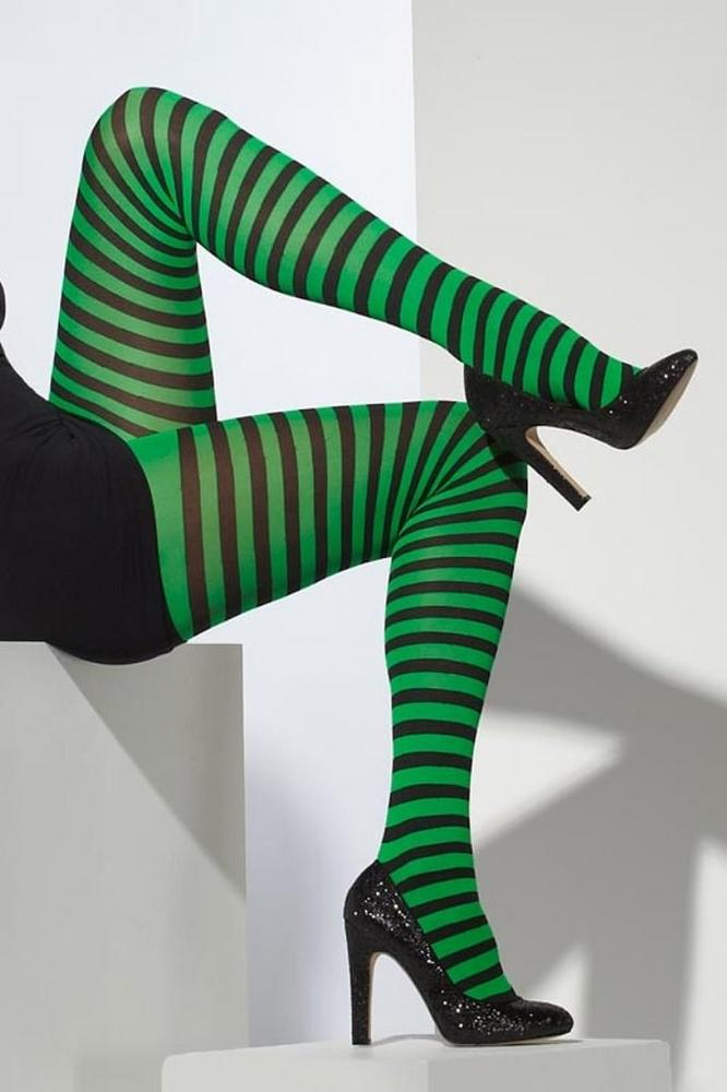 Adult Tights Black and Green, Striped