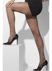Adult Black With Spiderweb Design Opaque Tights Thumbnail 1