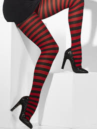Adult  Red and Black Striped Opaque Tights Thumbnail 1