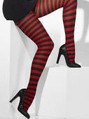Adult  Red and Black Striped Opaque Tights