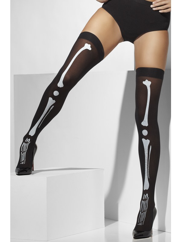 Womens Black Opaque Hold Ups with Skeleton Print